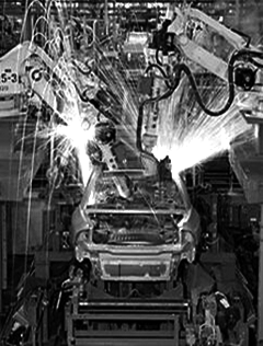 Car Being Built in Manufacturing Plant